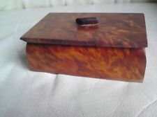 VINTAGE BEAUTIFUL HAND CRAFTED  BURR WALNUT WOODEN BOX,FREE-MAILING.