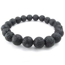 Jewelry Men's Bracelet, Stone Crystal Natural Gemstone Ball, 10mm Lava, Bla D7F7