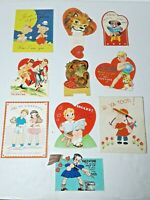 Vtg 1930-40s Valentine Cards Die Cut Lot Of 10 #3 Girls Boys Animals