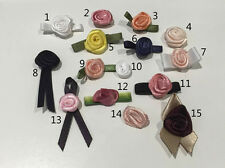 50 SATIN RIBBON ROSES. FROM 99P PER PACK. 15 DIFFERENT STYLES