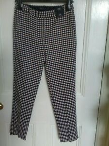 Marks and Spencer Slim Mid Rise Ankle Grazer Check Trousers size 8 New Regular