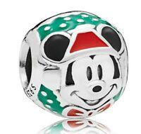 Sterling Silver Charm Santa Mickey Charms Fit European Charm Bracelet