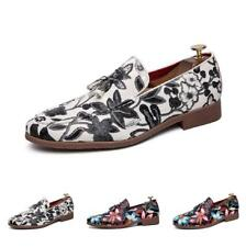 Slip on Loafers Mens Round Toes Floral Printing Low Heel Driving Walking Flats