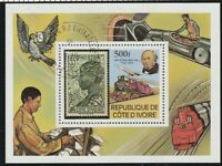 IVORY COAST 1979 ROWLAND HILL CENTENARY 500F MINIATURE SHEET FINE USED