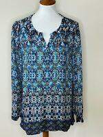 J.Jill Medium Blue Paisley Long Sleeve V-Neck Women's Top Shirt