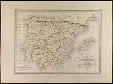 Carta geografiche 1846 : Spagna antica Malta-marrone. Incisione