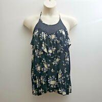 Torrid Sleeveless Top Size 0 Black Blue Halter Lace Trim Ruffles Keyhole Back