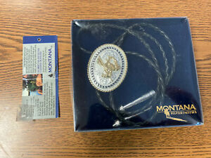 MONTANA SILVERSMITHS 'End of the Trail' LEATHER BRAIDED BOLO TIE