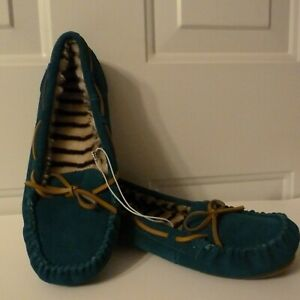 NEW Target's Chaia Teal / Leopard Genuine Suede Moccasin Slippers sz Womens 10