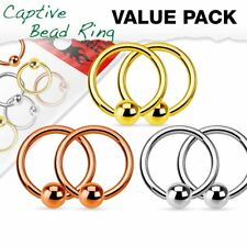 Surgical Steel Captive Bead Rings Ball Value Pack 3 Pairs Nipple ring 316L