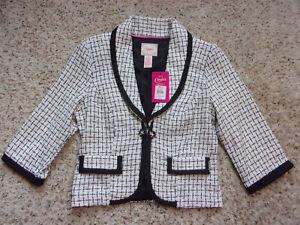 NWT~Candie's Blazer Suit Jacket~White/Black Tweed~Black Trim~Size L