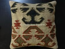 Handwoven Kilim Pillow Case 18x18 Vintage Rug Jute Cushion Cover Square Pillows