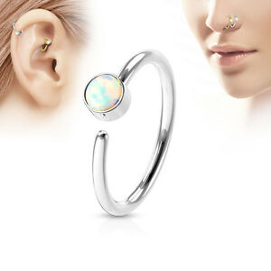 1pc Bendable Hoop Nose / Cartilage Ring w/ Set Opal Rook Daith Helix Tragus