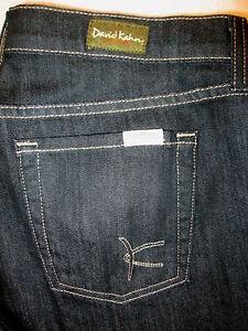 David Kahn Stretch Flare Leg Womens Dark Black Jeans Size 31 x 29 Mint USA #3756