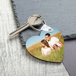 Personalised Photo Keyring Any Picture Custom Keychain Double Single Side Print