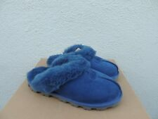 UGG COQUETTE DARK DENIM BLUE SUEDE SHEEPSKIN SLIPPERS, WOMEN US 6/ EUR 37 ~ NIB