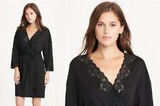 Lauren Ralph Lauren Lace Trim Solid Short Robe 8141227 Black Medium   ~ NEW ~