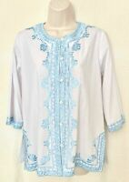 White Cotton Mix 3/4 Sleeve Shirt Blouse Button Top With Blue Embroidery Size 12