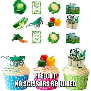 Precut Allotment Gardening Edible Cupcake Toppers Cake Decorations  (pack of 36)