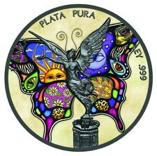 BUTTERFLY ART 1 Oz Silver & Ruthenium plated Libertad coin Mexico 2018