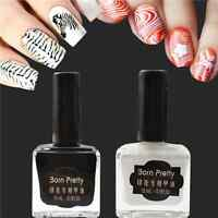 2Pcs/Set 15ml Nail Art Stamping Polish Black White Stamp Varnish DIY BORN PRETTY