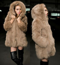Womens Faux Fur Hooded Coat Jackets Winter Khaki Plush Parka Overcoat Outerwear