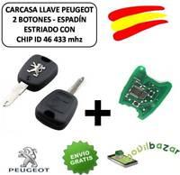 LLAVE CARCASA PEUGEOT 106 206 207 407 806 MANDO 2 BOTONES HDI CHIP ID46 433 MHZ