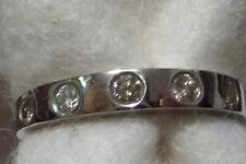 Contemporary 5 Round Diamonds & 9k White Gold Band Ring Size K-1/2 (US 5-3/4)
