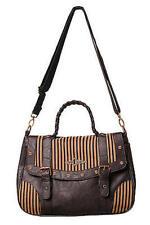 Banned Apparel Brown Stripe Steampunk Goth Emo Scene Fashion Bag Purse Handbag