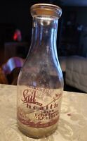 VINTAGE QUART MILK BOTTLE◇ ECHO FARM DAIRY CO. J A TURNER FRAMINGHAM ◇ RED PYRO