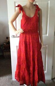 Free People Kika's Printed Midi Dress - Tangerine - XS