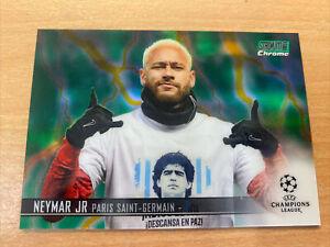2021 Topps Stadium Club Chrome Neymar Jr 40/75 Green Yellow Electric PSG