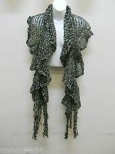 Amiee Lynn ruffle Knit scarf Green Gray tie dye wrap shawl dramatic light w frin