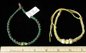 Jewelry Unique Hand Crafted Bead Hemp Knots Anklet Necklace Lime Green  2 lot