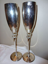 THINGS REMEMBERED SILVER PLATED SWAROVSKI CRYSTAL WEDDING TOASTING FLUTE GLASS