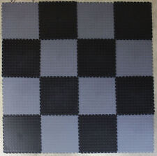 BLACK & GREY CHECK PVC INTERLOCK TILES / GARAGE FLOORING /RUMPUS/GYM/ALL PURPOSE
