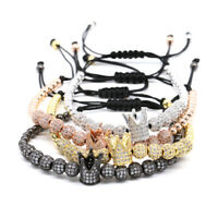 Gold Imperial King Crown Bracelet For Men Luxury Charm Beaded Bracelets Jewelry