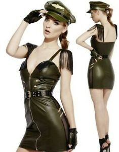 Sexy Fever Miss Behave Military Army Girl Ladies Fancy Dress Costume Size 4/18