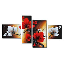 Large Hand Paint Canvas Oil Paintings Pictures Wall Art Floral Home Decor Framed
