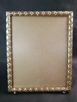 Vintage Brass Picture Frame Easel Back 8x10 Footed Gold Color Etched Ornate