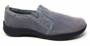 Grasshoppers Womens Elite Zip Flat Shoes Suede Grey Size 9.5 M US