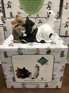 Charming Tails Enesco Ooooo-Spooky 4017316  SIGNED Black Cat and Ghost