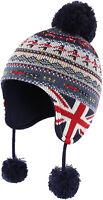 Home Prefer Toddler Boys Winter Hats Ear Flaps Kids Fair Isle Peruvian Knit Hat