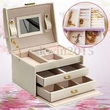 PU Leather Beige Jewelry Storage Box Mirror Organizer Case Ring Earring