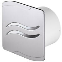"""Silver Bathroom Extractor Fan 4"""" 100mm with Pull Cord Switch Ventilator SS100W"""