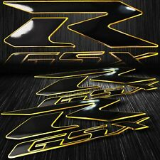 "2x 6.25"" ABS 3D Emblem Decal Fairing Logo Sticker Suzuki GSXR Black/Chromed Gold"