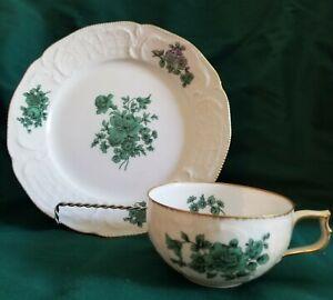 Cup & Dessert Plate Set SANSSOUCI Green Flowers/Gold Rim by ROSENTHAL Germany