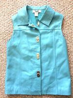 Lisa International Womens S LAMB SKIN LEATHER Vest Knit Back TURQUOISE Sky Blue