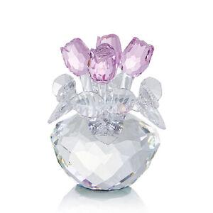 K9 Crystal Light Pink Rose Figurine Bouquet Ornament Glass Flowers - NOYISTAR