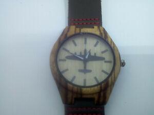 Lancaster motif watch, wooden case, M/F, Friend or Foe, Miyota Quartz, Aviation